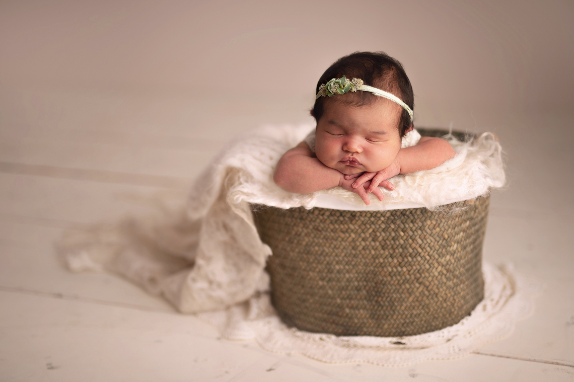 newborn baby girl in the basket